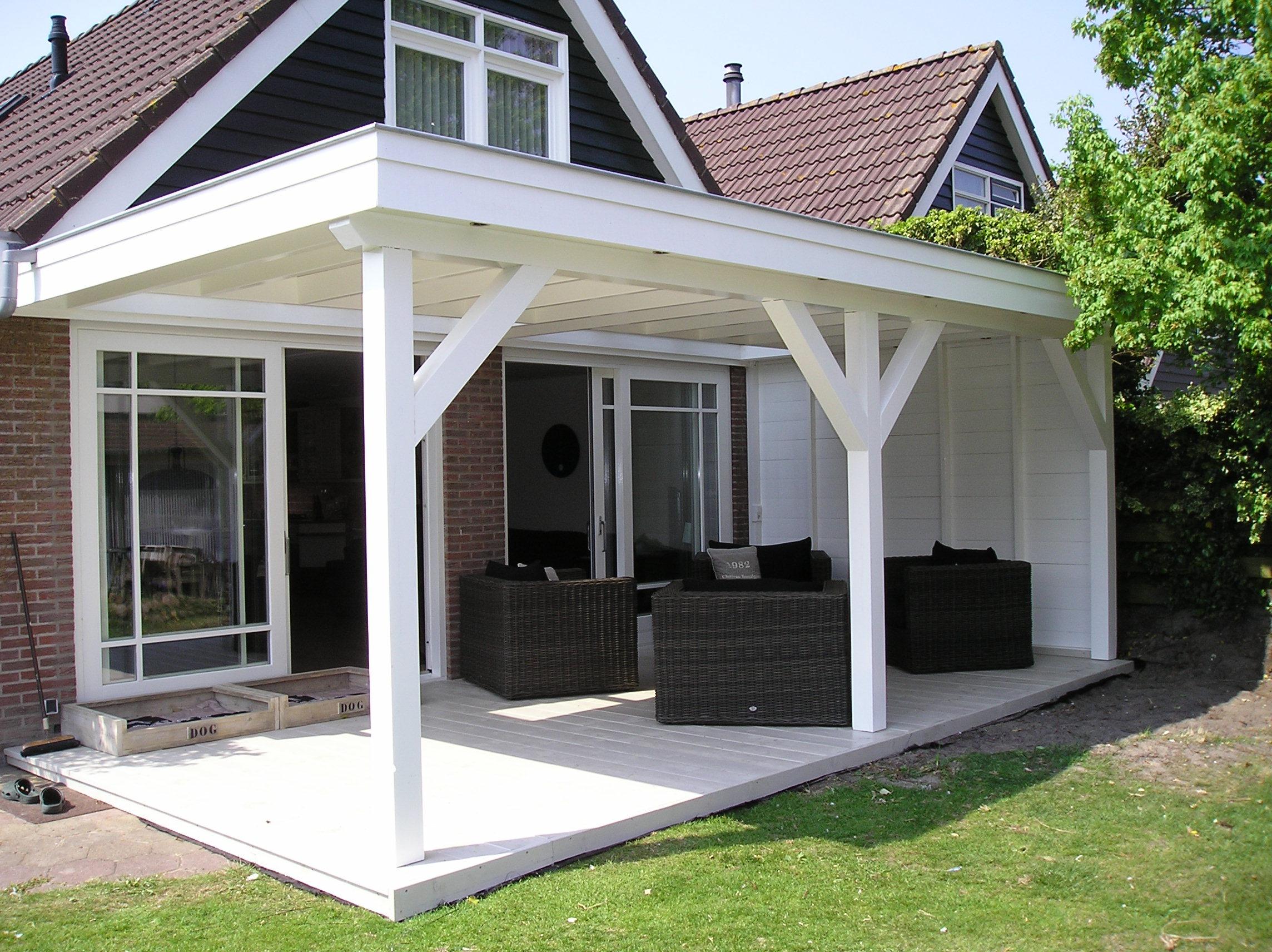 Hout beton schutting veranda uitbouw